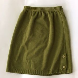 Vintage, Green, Knitted Skirt -Medium- LYCEE MIXTE